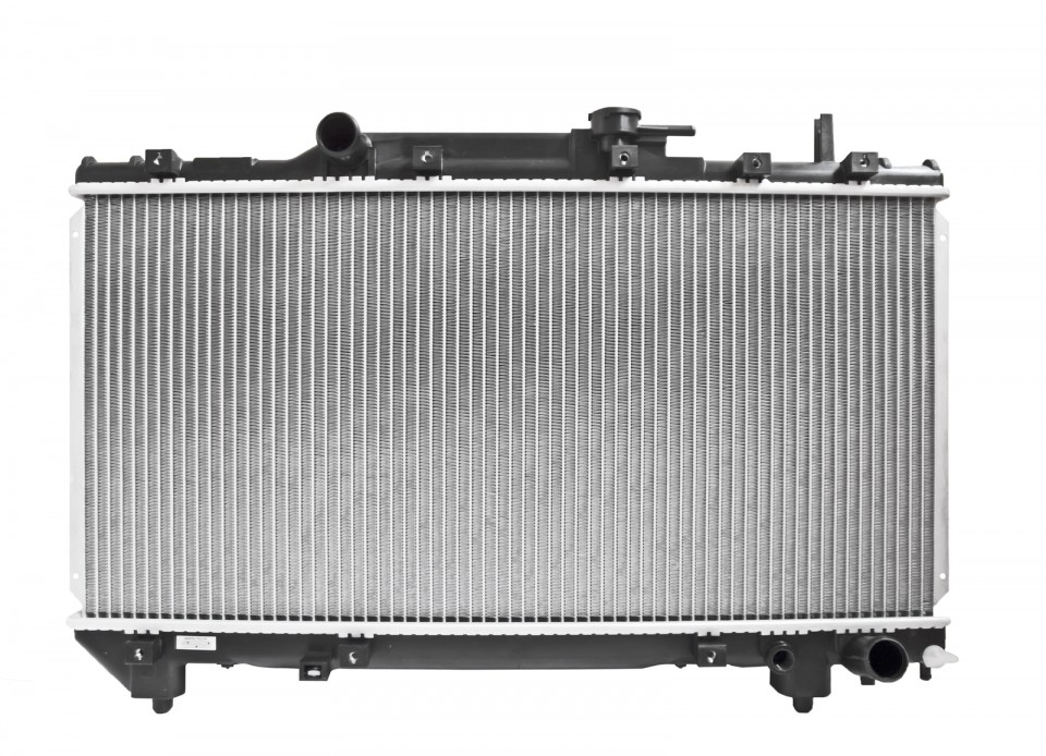 Automobile radiator engine cooling system isolated on white background